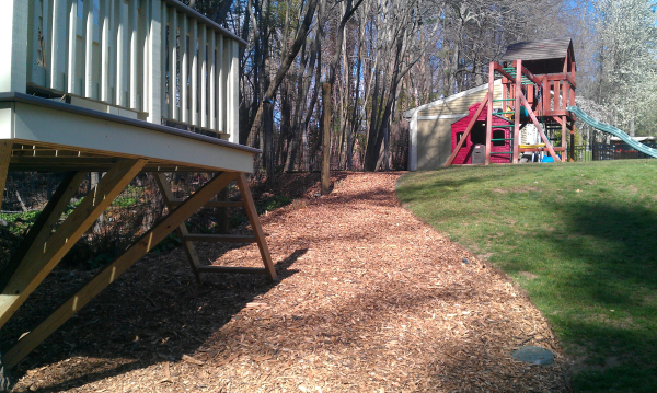 finished edge wood chips added