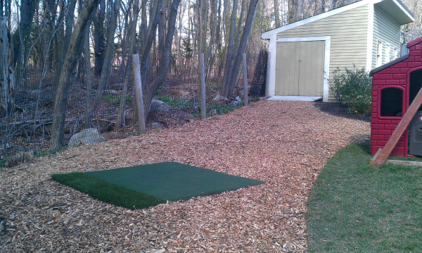finished lawn edge wood chips new bed